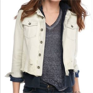 Free People Hooded Jean Jacket Sweatshirt Layered